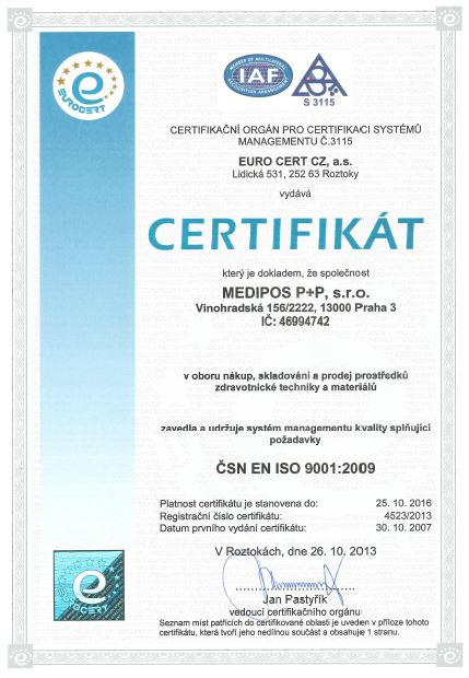 certifikát ISO 9001:2009