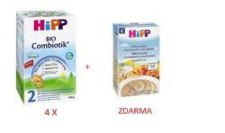 HiPP - 4 x mléko 2 Combiotic pokračovací 600g BIO + ZDARMA BIO mléčná kaše s bros. a meruň. (6/2016)