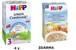 HiPP - 4 x mléko 3 Combiotic pokračovací 600g BIO + ZDARMA BIO mléčná kaše s bros. a meruň. (6/2016)