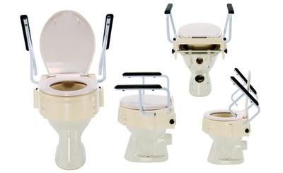 Nástavec na WC plast, nastav.výška: 8,12,16cm, sklopná madla-šířka 58cm, poklop
