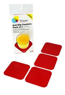 Tenura - tácky, 9cm x 9cm, červené, 4ks