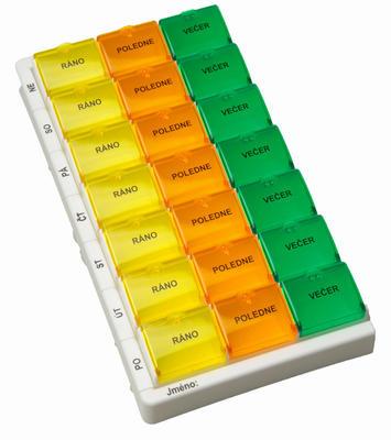 Dávkovač léků týdenní Obzor typ 03, barevný