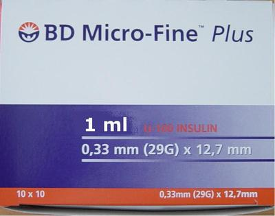 Inzul. stříkačka 1ml U100 B-D 0,33x12,7mm , bal.=10x10ks