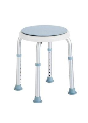 Stolička do sprchy kulatá otočná, hlin.rám, výšk.nast., prům.sedátka 32cm, nosnost 110kg