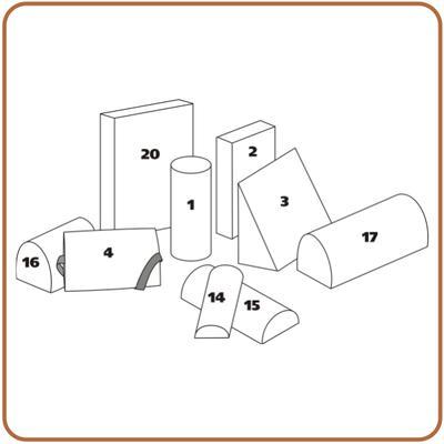 Rehabilitační kvádr polohovací PURO 20 - 50x35x10cm bavlněný  - 2