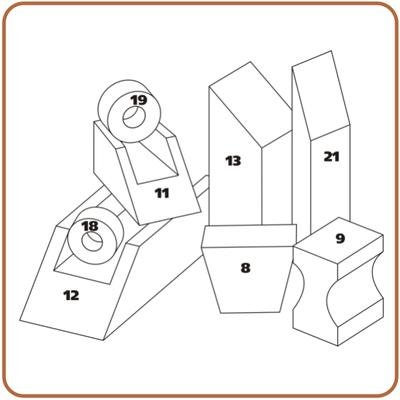 Rehabilitační polohovací klín pro končetiny PURO 13 - 60x30x20cm bavlněný  - 2