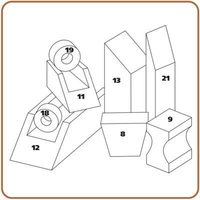 Rehabilitační kvádr polohovací PURO 21 - 75x30x10cm bavlněný  - 2