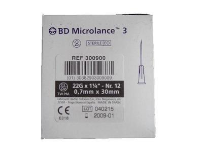 Černá 0,7x30 jehla B-D 22G11/4  - 2